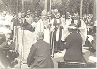 The foundation stone is laid at St Cyprian's, 10 July 1934: Francis Killer is on the right of the three clergy